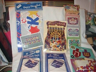 JEWISH HEBREW HANUKKAH CHANUKAH DESIGN LOT #3 OF 6 ITEMS TAGS BANNER CARD CRAFT