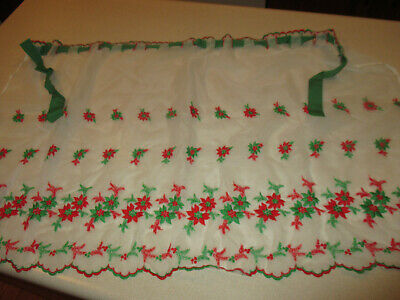 Vintage Aprons, Retro Aprons, Old Fashioned Aprons & Patterns Vintage Embroidered Sheer Christmas Apron Poinsettia & Holly $11.99 AT vintagedancer.com