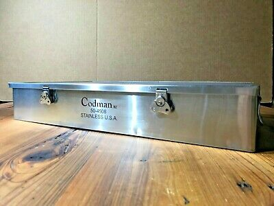 New Codman Stainless Steel Instrument Sterilization Tray Case 50-4508