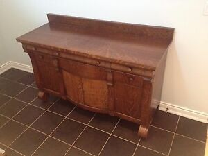 Antique Hutch Tiger Stripe Oak