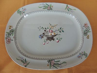 "C1878 Mintons 16.5"" Platter Hand Painted Chinese Blossom Antique Celadon  CLEAN"