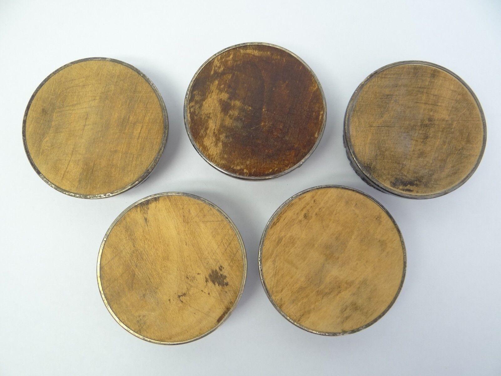 Set de silverplate bois vigne spirale décorative vin verre boisson sous-verre
