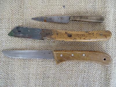 P6662 ~ 3 alte Messer ~ Küchenmesser ~ Bauernmesser ~ ANTIK ~ Schlachtermesser