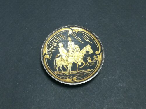 TOLEDO SPANISH Vintage GOLD DAMASCENE IRON DISH c1950