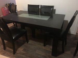 Modern dining room table with 6 chairs