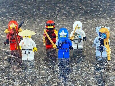 Lego Ninjago Minifigure Lot of 6 - Jay, Zane, Kai, Sensei Wu, Rattla E8