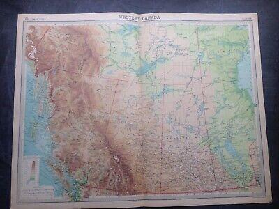 WESTERN CANADA 1922 WORLD MAP,TIMES ATLAS,BARTHOLOMEW,EDINBURGH,