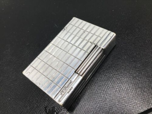 ST Dupont Gatsby Lighter Silver Plated Crosshatch Single Flame Cigar $895