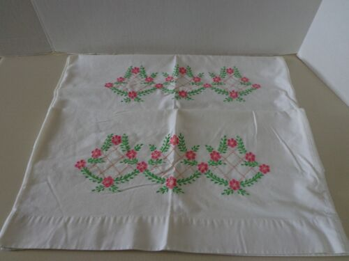 2 Vintage Embroidered Pillowcases, Pink Flowers