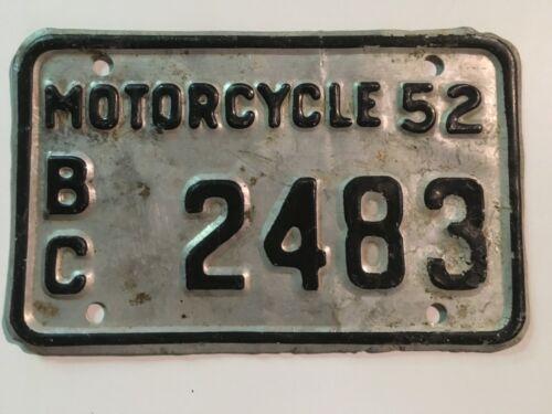 1952 British Columbia MOTORCYCLE License Plate Canada Rare!!