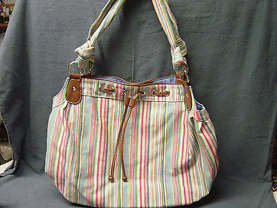 WOMEN'S HANDBAG, BAGUETTE,COTTON FABRIC, RED, GREEN WHITE BLUE STRIPE  Stripe Fabric Handbags