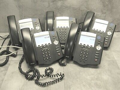 5 LOT - Polycom SoundPoint IP450 Office Business VoIP Phone w/ Handset + Stand