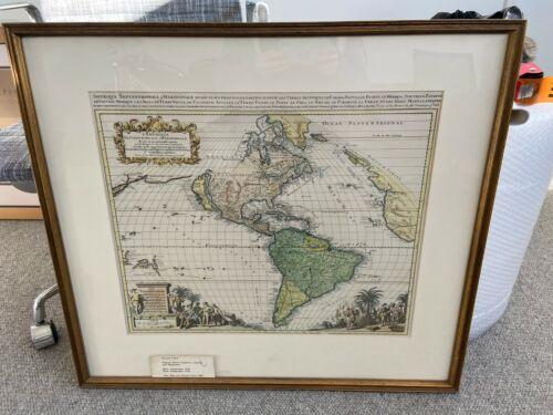 framed antique map, Circa 1683. Hand painted, Gerard Valck, California island
