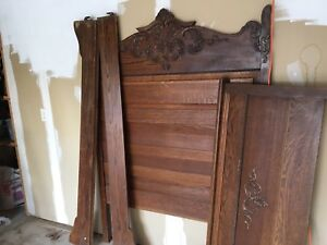 Bed Frame-Antiques Solid wood  - headboard rails & foot board