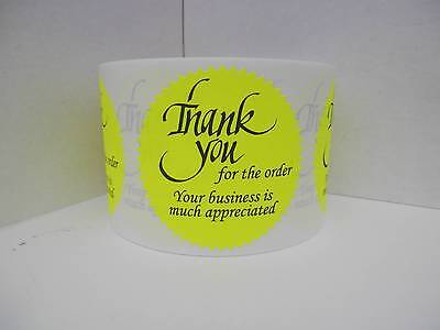 36 Thank you for the order Your business is much appreciated Label neon yellow