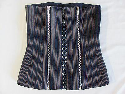 Givenchy Paris Corset Top- Blue /Orange Stitching Zippers-Size 40- NWT-$2390