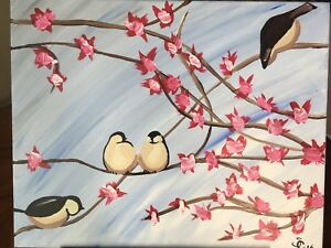 Cherry blossom chickadee painting