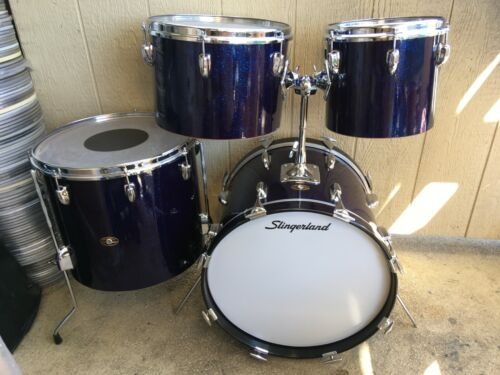 "68 SLINGERLAND VIOLET BLUE SPARKLE BE-BOP COMBO DRUM SET.18"" BASS, 10"" TOM"