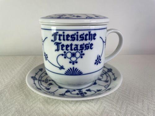 Frisian Tea Cup Freisische Teetasse Mug with Filter, Lid & Saucer German