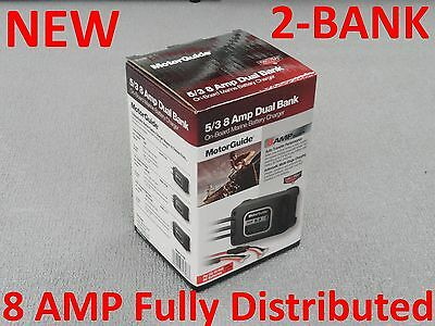 New Motorguide 2 Bank On Board Boat Battery Charger 8 Amp Dual 31708 Waterproof