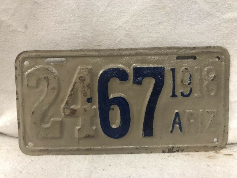 Vintage 1918 Arizona License Plate (Repaint)