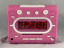 Hello Kitty CD Player AM/FM Alarm Clock Radio Sanrio Pink White KT2053A Tested