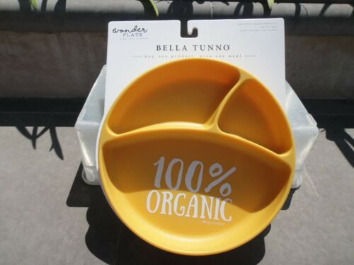 """Tunno Tots by Bella Tunno Sectioned Suction Plate """"100% Organic"""" Yellow  8"""" dia."""