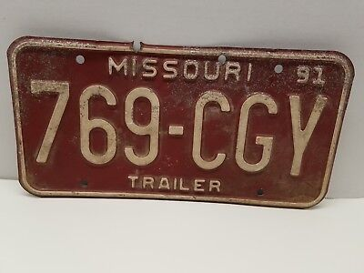 Vintage Missouri Trailer License Plate 1991 Tag 769-CGY Burgandy Red / White