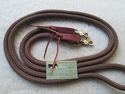 """Rose Lodge 9/' x 1//2/"""" CAMO Black, Tan Yacht Rope Loop Reins Leathers Snaps USA"""
