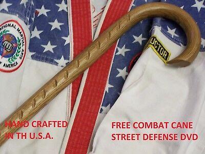 SAW TOOTH COMBAT CANE & DVD- SELF DEFENSE- MARTIAL ARTS- CUSTOM OAK CANE- USA
