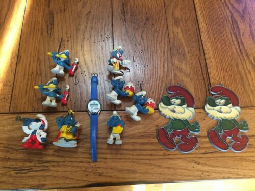 VINTAGE MIXED LOT OF 8 SMURF FIGURINES...WATCH...PEYO...SCHLEICH..2 SUNCATCHERS