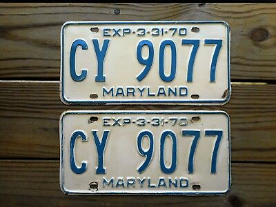 1970 MARYLAND YOM PAIR LICENSE PLATE TAG NUMBER CY 90 77 CLASSIC MD COLORS *