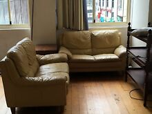 2 X Pale yellow leather couches Woolloomooloo Inner Sydney Preview
