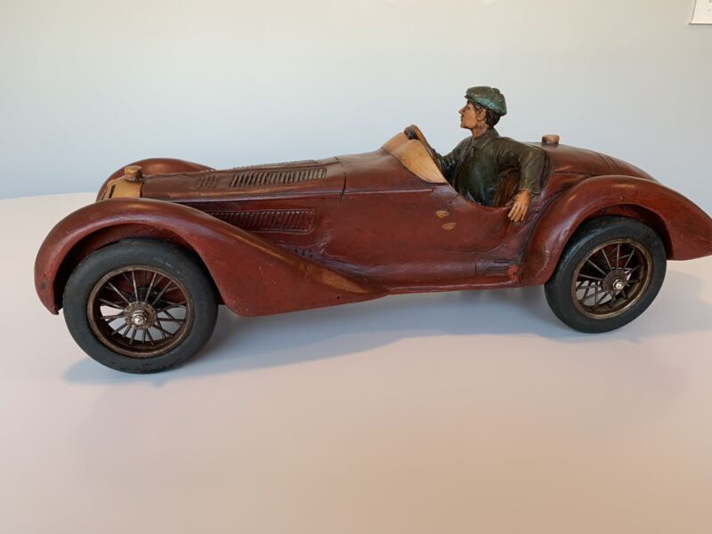Vintage 1930 Alfa Romeo Wooden Concept Car Carving