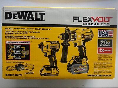 DEWALT DCK299D1T1 20V 20 Volt Flexvolt Li-Ion Cordless Brushless Combo Kit NIB