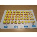 50 ASSORTED FISHING BOBBERS Round Floats Orange Yellow SNAP ON FLOAT ASSORTMENT