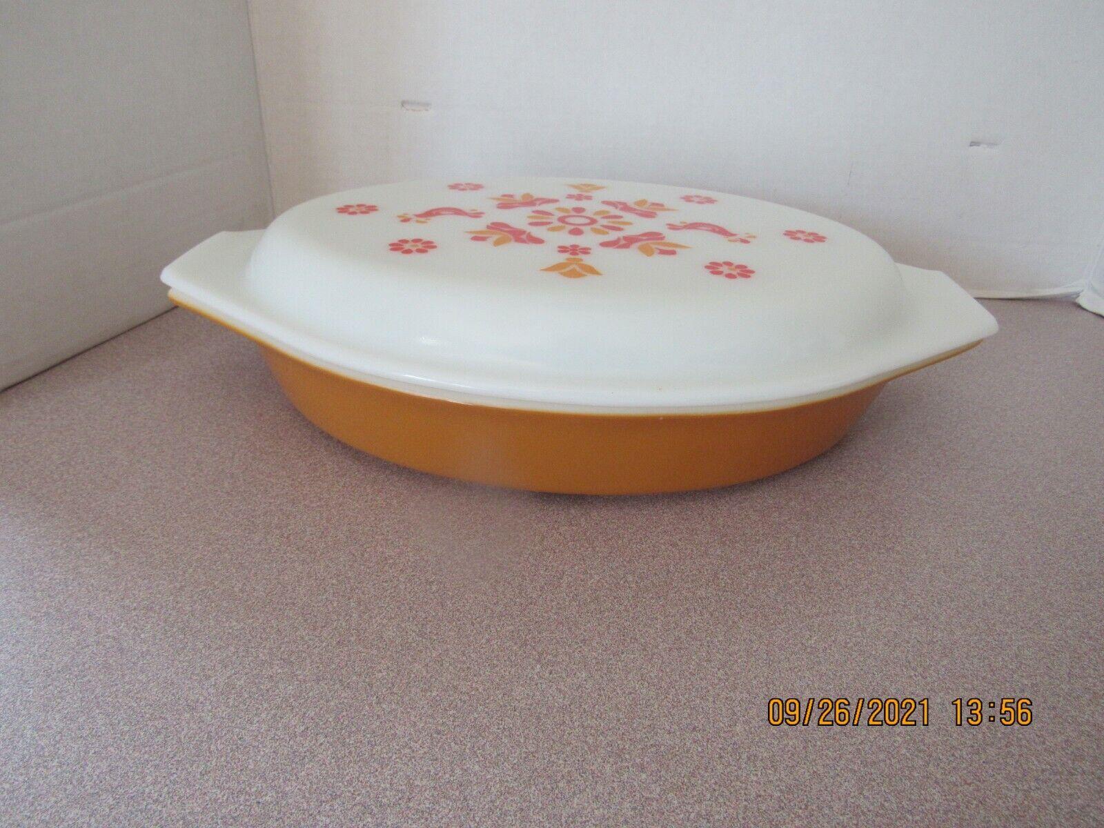 Vintage Pyrex Friendship Casserole Divided Dish W/Lid Orange Red Flowers Birds - $19.99