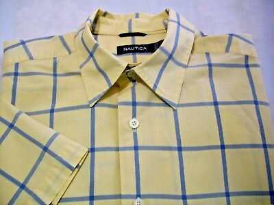 Nautica Large Short Sleeve Button Down Front Shirt Yellow & Blue Mens