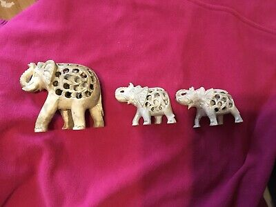 THREE INDIAN ELEPHANT ORNAMENTS