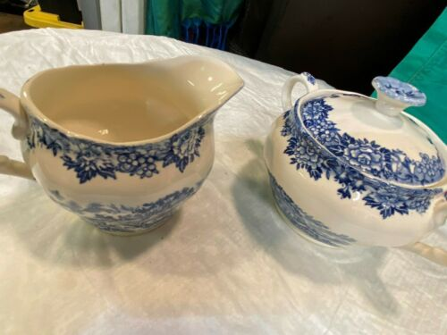 "~ ""English Village""  blue Ironstone Creamer & Sugar Bowl by SALEM CHINA"