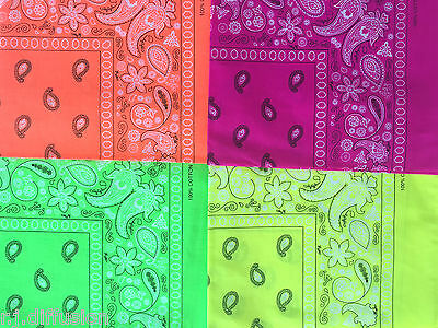Bandana couleur flashy jaune orange fuchsia vert