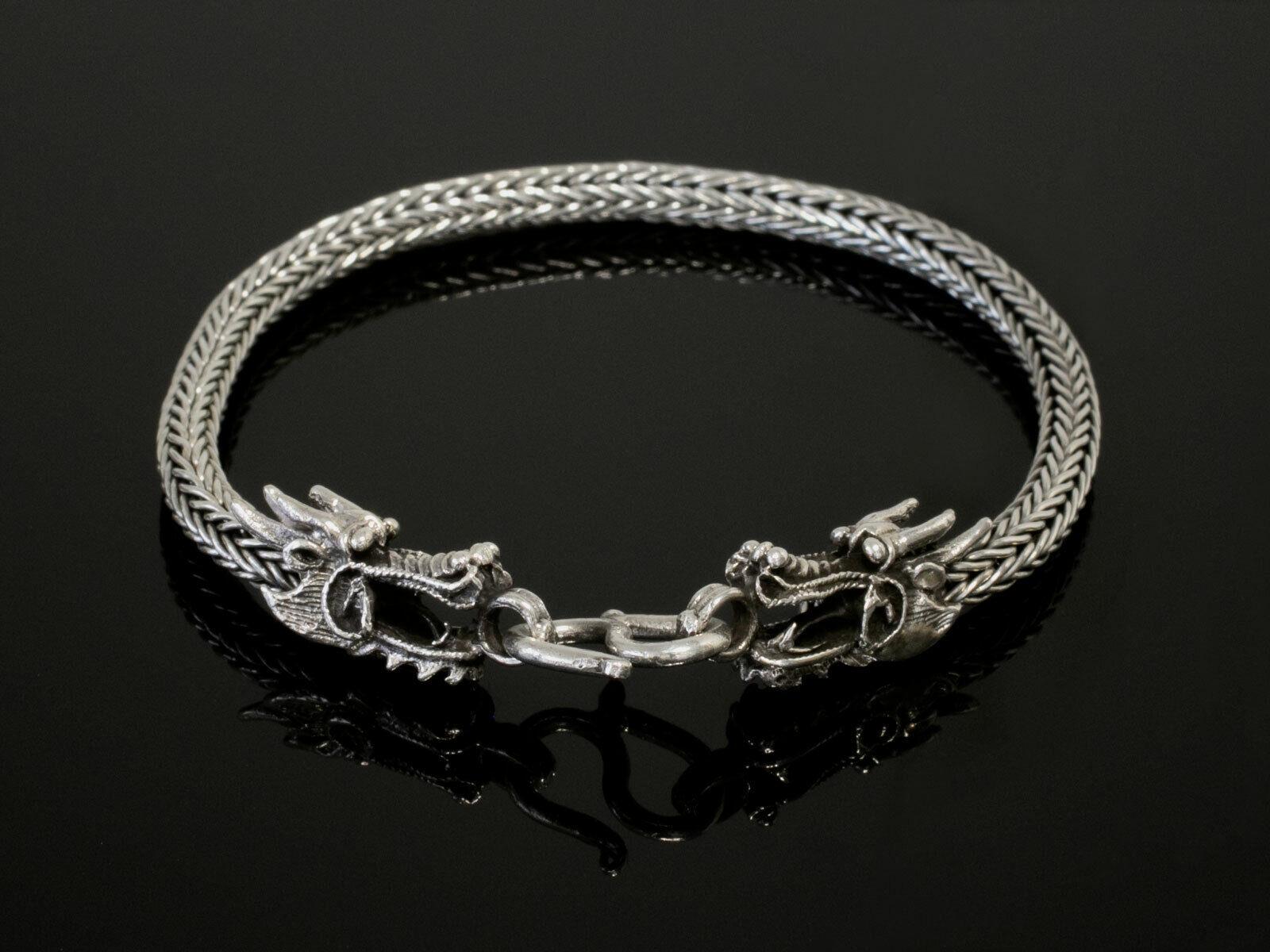 Drachen Armband 925 Silber Wikinger Herren Armreif Drachenkopf Armkette massiv
