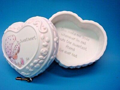 "SWEATHEART HEART HOPECHEST Precious Moments 3"" Ceramic BOX 473812"