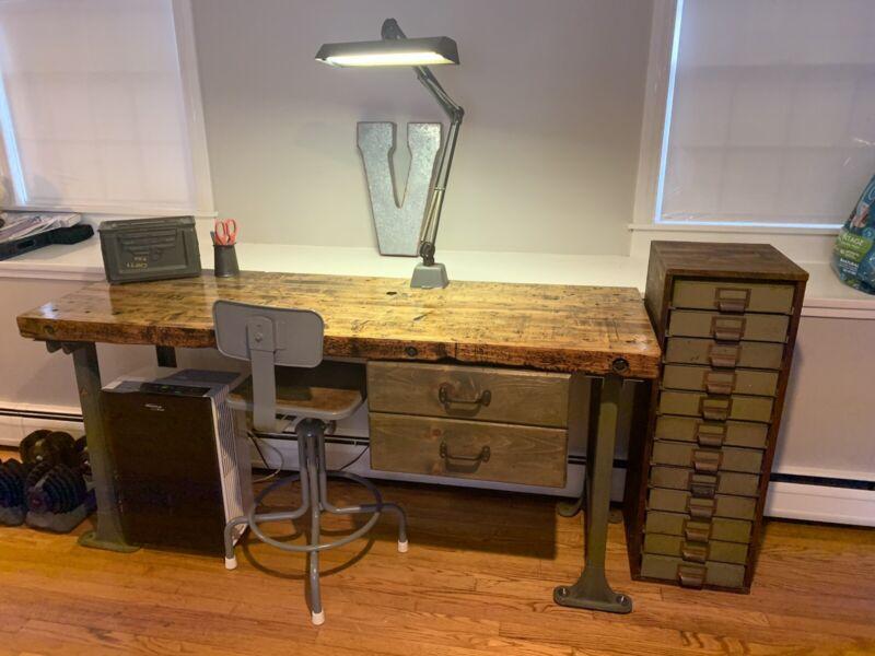 Old Industrial Workbench Refurbished. Wooden Top, Metal Legs Pratt & Whitney