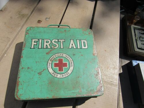 Vintage Green American Red Cross Emergency First Aid Kit W/ Supplies Most Sealed