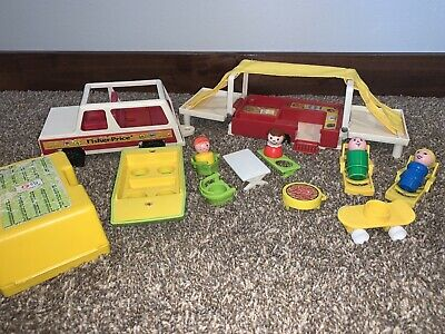 Vintage Fisher Price Little People Play Family POP UP CAMPER #992 Boat Grill ⛺