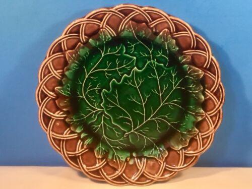 Rare Antique Scottish Majolica Leaves & Basketweave Plate c1800's