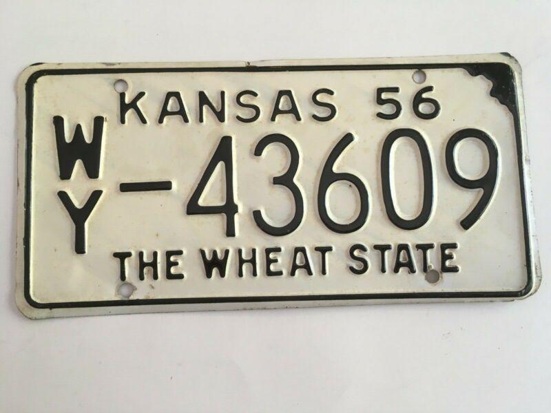 1956 Kansas License Plate All Original