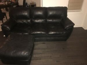 Leather black couch set