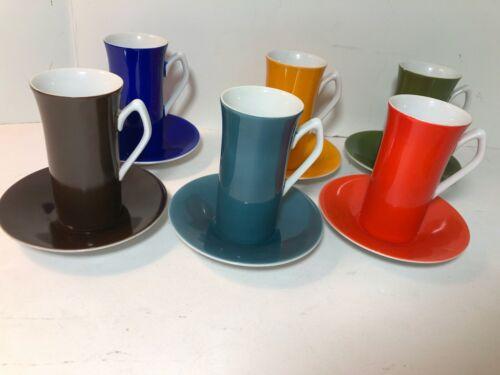 Harmony House Fine China Espresso Cups & Saucers BRIGHT COLORS MID CENTURY FUN!